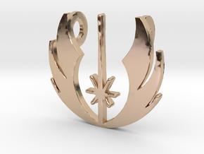 3d Star Wars Jedi Pendant in 14k Rose Gold Plated Brass