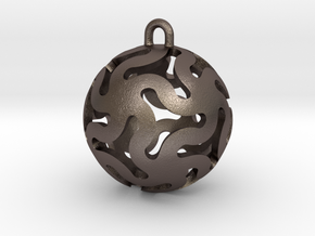 Star Ball Classic X-Mas Bauble in Polished Bronzed Silver Steel