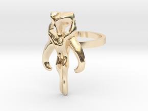 3d Star Wars Mandalorian, Size 9 in 14k Gold Plated Brass