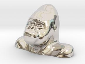 Gorilla Bust Sculpt in Rhodium Plated Brass
