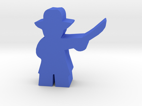 Game Piece, Civil War Officer, brimmed hat, sword in Blue Processed Versatile Plastic
