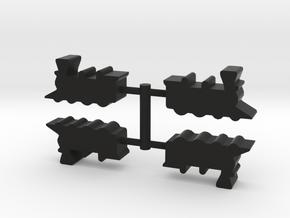 Train Steam Engine Meeple, 4-set in Black Natural Versatile Plastic