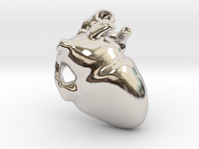 Golden Heart Pendant 30mm (~1.2 inches) in Rhodium Plated Brass
