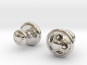SOCCER CUFFLINKS 2 in Rhodium Plated Brass