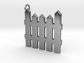 White Picket Fence Keychain in Polished Silver