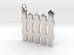 White Picket Fence Keychain in Platinum