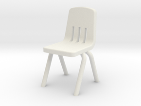 1:48 Plastic School Chair in White Natural Versatile Plastic
