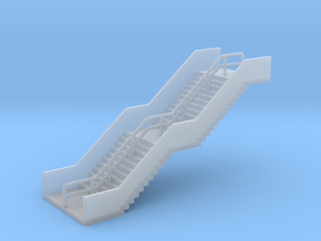 N Scale Station Stairs H30mm in Smooth Fine Detail Plastic
