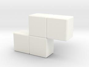 """Z"" Tetris Cufflink in White Processed Versatile Plastic"
