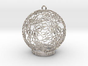 Peace for Paris Memento Ornament in Rhodium Plated Brass