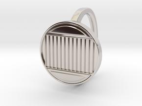 Ring 4-3 in Rhodium Plated Brass