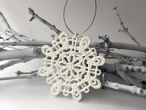 Curvy Snowflake in White Strong & Flexible