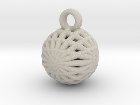 Grid Ball keychain in Natural Sandstone