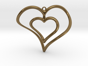 Hearts Necklace / Pendant-02 in Polished Bronze