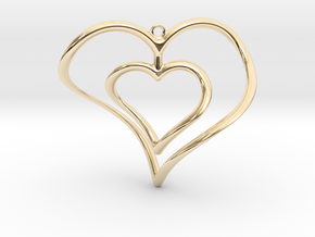 Hearts Necklace / Pendant-02 in 14k Gold Plated Brass