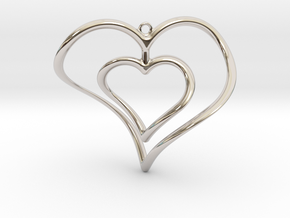 Hearts Necklace / Pendant-02 in Rhodium Plated Brass