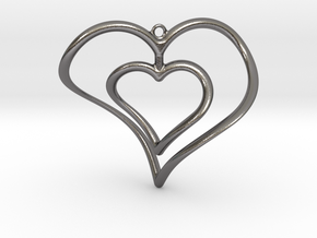 Hearts Necklace / Pendant-02 in Polished Nickel Steel