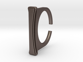 Ring 1-8 in Polished Bronzed Silver Steel