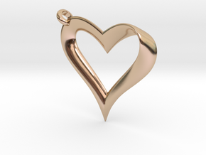 Mobius Heart Pendant in 14k Rose Gold Plated Brass