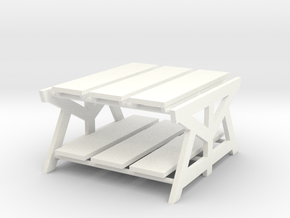 Industrial Style Coffee Table-1/12th scale in White Processed Versatile Plastic