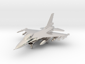 F-16 Fighting Falcon Jet Gold & Precious materials in Rhodium Plated Brass