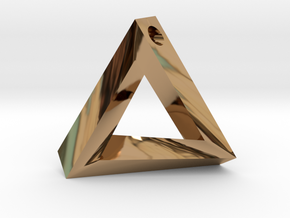 Impossible Triangle Pendant in Polished Brass