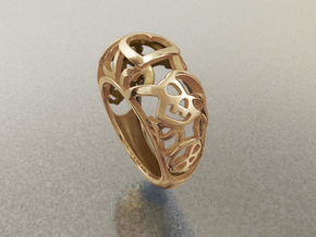 Skulls want Hearts - US 7 - Ø17.3 - C54.3 in 14k Gold Plated Brass