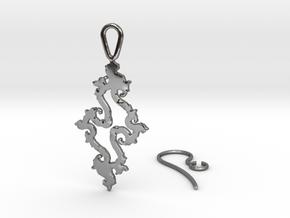 Julia Set Earring in Fine Detail Polished Silver
