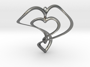 Hearts Necklace / Pendant-01 in Polished Silver