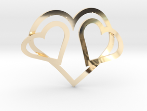 Hearts Necklace / Pendant-05 in 14k Gold Plated Brass