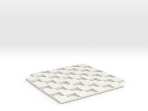 Customizable Miniature Minimalist Chess Board in White Natural Versatile Plastic
