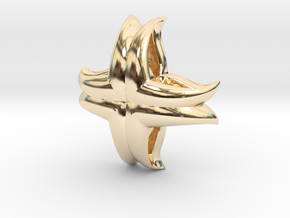 V Charm 3 Small in 14k Gold Plated Brass