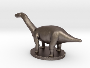 Miniature Apatosaurus Dark Green Full Color in Polished Bronzed Silver Steel