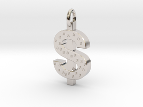 Dollar Charm in Rhodium Plated Brass