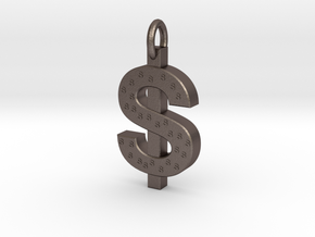 Dollar Charm in Polished Bronzed Silver Steel
