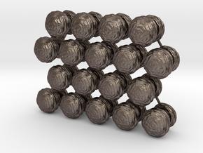 Mushroom Cloud x18 in Polished Bronzed Silver Steel