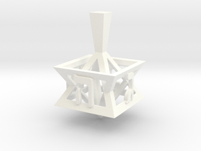 Geometry Dreidel in White Processed Versatile Plastic