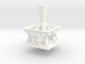Star of David Dreidel in White Processed Versatile Plastic