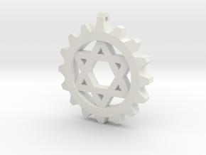 Gear Star of David in White Natural Versatile Plastic