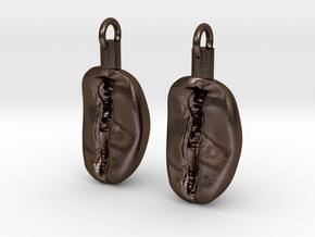 Coffee Bean Earrings in Polished Bronze Steel