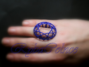 Ring The Diamond / size 6 US (16,5 mm) in Blue Processed Versatile Plastic