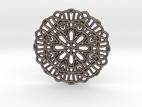 Lace Coaster in Polished Bronzed Silver Steel