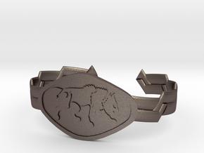 """2.5"""" Wolf Bracelet in Polished Bronzed Silver Steel"""