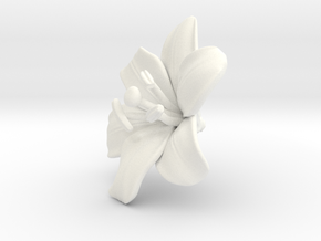 Lily Flower 1 - L in White Processed Versatile Plastic