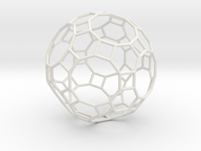 0283 Great Rhombicosidodecahedron E (a=1cm) #001 in White Natural Versatile Plastic
