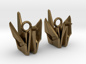 Origami Crane Earrings in Natural Bronze