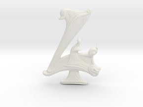 """Art Nouveau House Number: 4 at 6"""" in White Natural Versatile Plastic"""