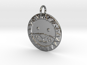 Cute Lion Face in Fine Detail Polished Silver