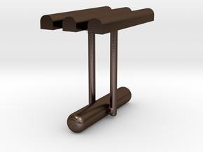 Cufflink Style 10 in Polished Bronze Steel