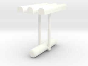Cufflink Style 10 in White Processed Versatile Plastic